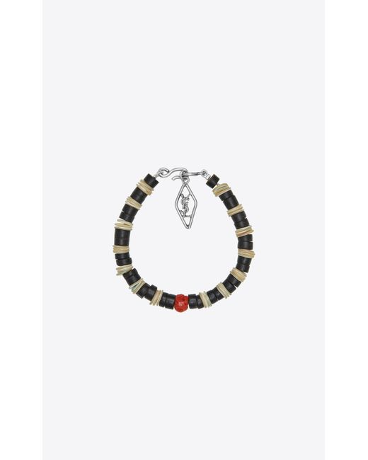 Saint Laurent - Metallic Bracelet In Mother-of-pearl, Gorgonian Coral And Silver-toned Brass for Men - Lyst