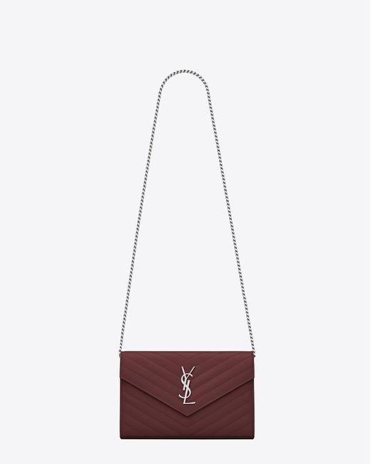 Women's Chain Wallet In Dark Red Textured Matelassé Leather by Saint Laurent