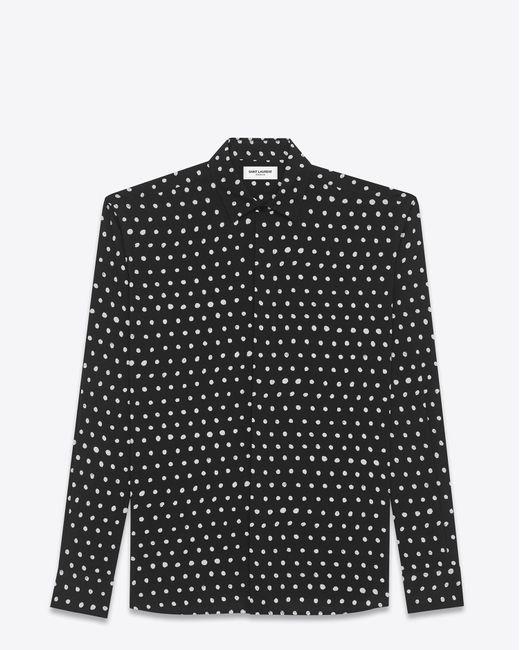 Saint Laurent - Black And White Lipstick Dot Yves Collar Shirt - Lyst