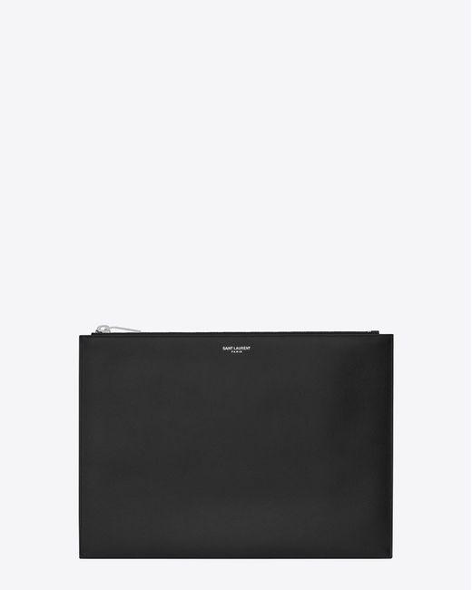 Saint Laurent - Paris Zipped Tablet Sleeve In Black Textured Leather for Men - Lyst