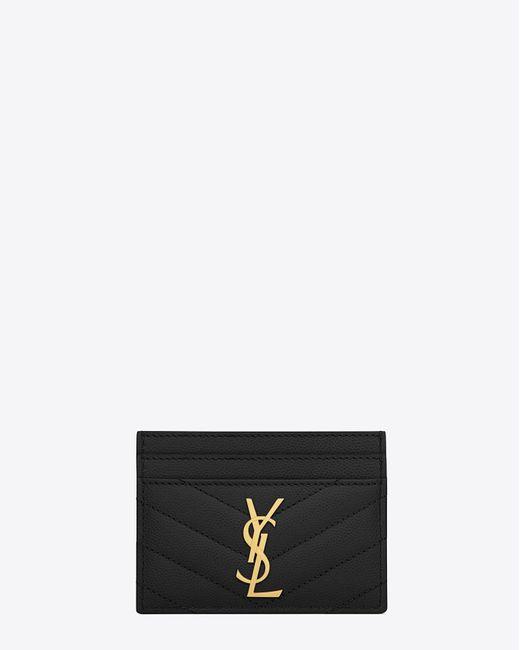 Saint Laurent - Black Monogram Textured Matelassé Leather Credit Card Case - Lyst