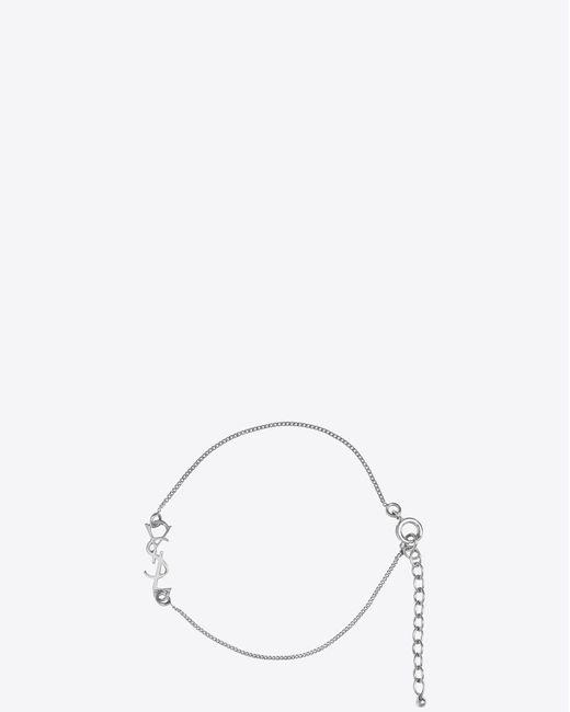 Saint Laurent - Metallic Charm Bracelet In Silver Brass - Lyst
