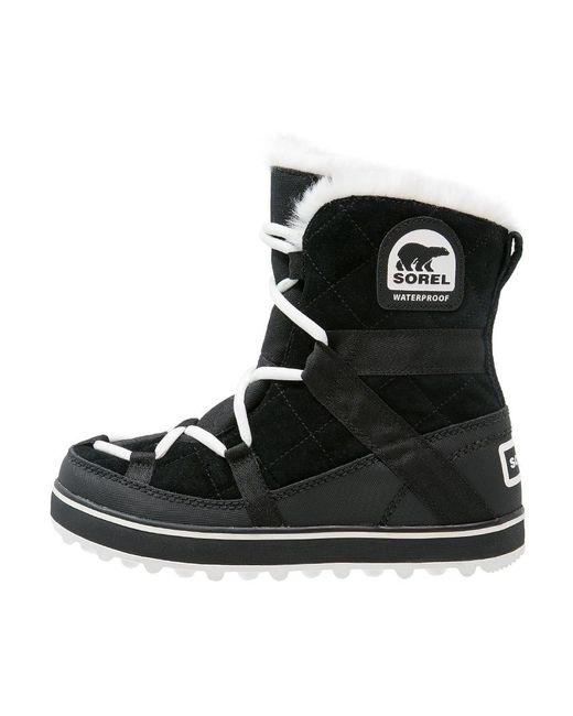 Sorel | Black Glacy Explorer Shortie Winter Boots | Lyst