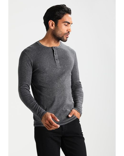 Dockers | Black Textured Henley Long Sleeved Top for Men | Lyst