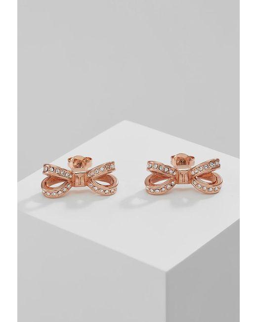 Ted Baker | Metallic Olitta Mini Opulent Pav Bow Earrings | Lyst