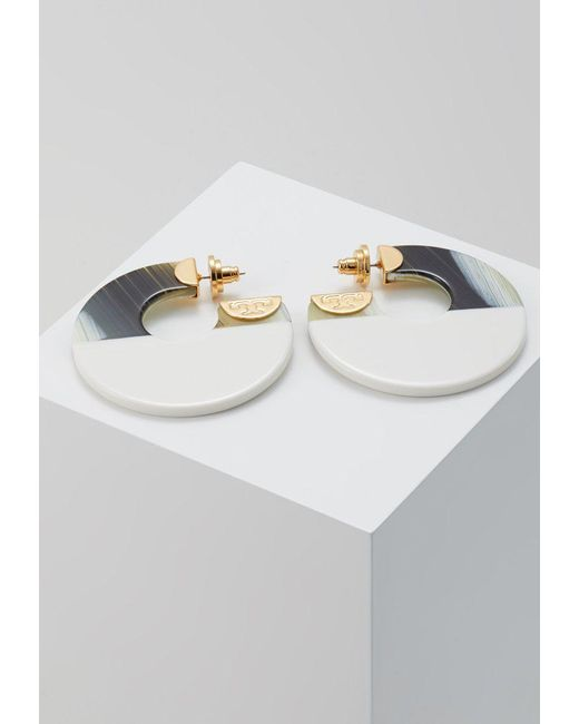Tory Burch | White Color Block Hoop Earring Earrings | Lyst
