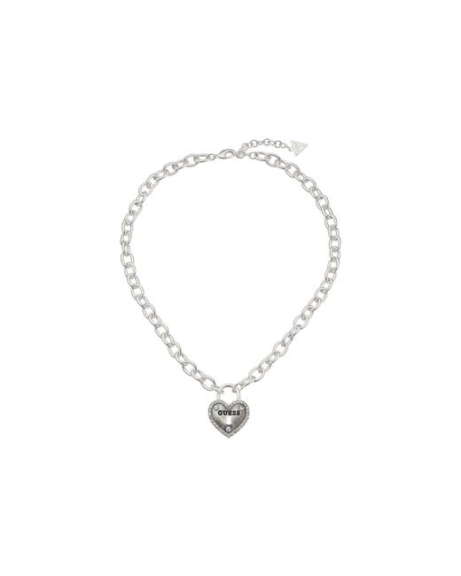 Guess - Metallic Framed Heart Necklace - Lyst