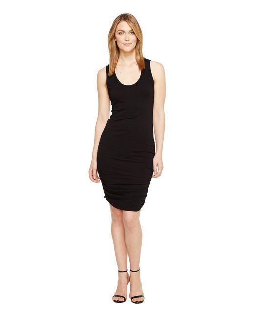 Michael Stars | Black Scoop Neck Tank Dress W/ Shirring | Lyst