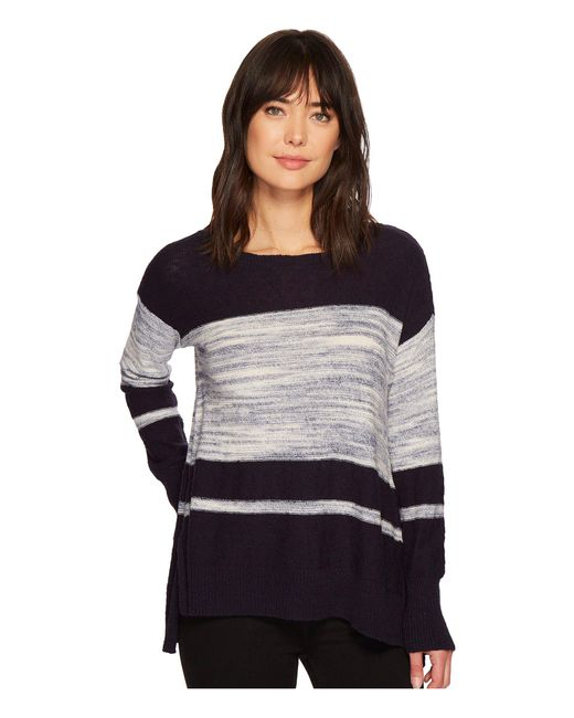 Two By Vince Camuto | Blue Long Sleeve Blocked Space Dye Stripe Sweater | Lyst