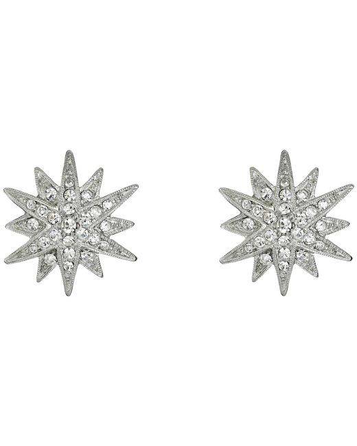 Kenneth Jay Lane - Metallic Rhodium And Rhinestone Starburst Clip Earrings (siver/crystal) Earring - Lyst