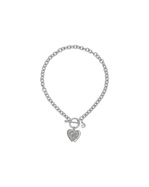 Guess - Metallic Logo Overlay On Pave Heart Charm Toggle Front Necklace - Lyst