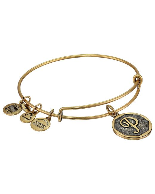 ALEX AND ANI - Metallic Initial P Charm Bangle - Lyst
