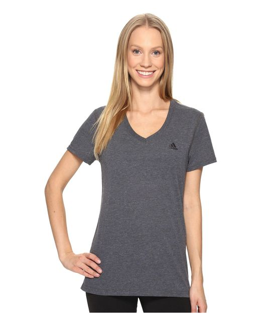 Adidas - Gray Ultimate V-neck Tee (real Pink) Women's Short Sleeve Pullover - Lyst