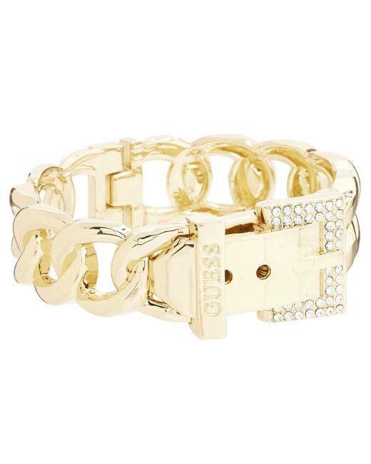 Guess - Metallic Buckle Hinge Frozen Chain Bracelet W/ Pave Accent - Lyst