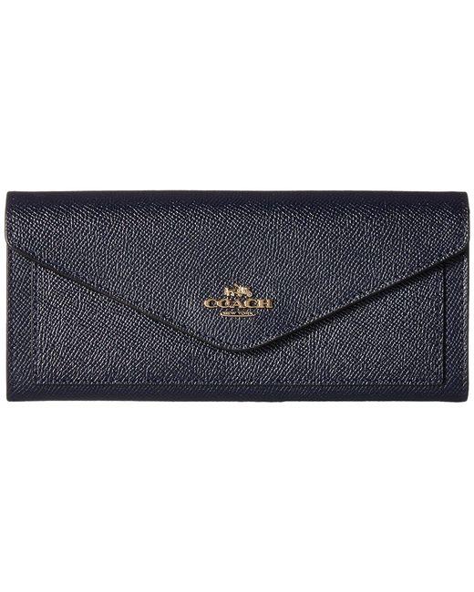 COACH - Blue Soft Wallet In Crossgrain Leather (li/black) Wallet Handbags - Lyst