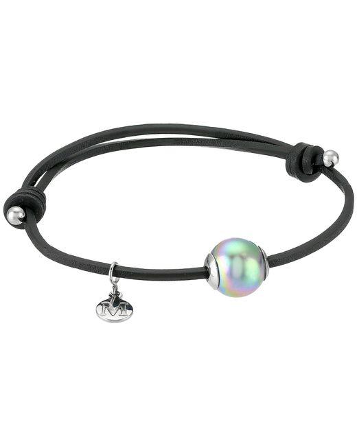 Majorica   Gray Adjustable Black Leather White Pearl Bracelet   Lyst