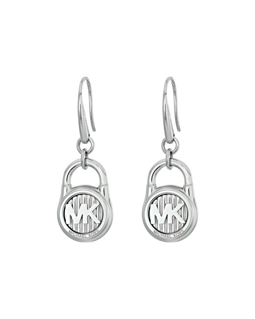 Michael Kors - Metallic Logo Lock Stud Earrings (silver/steel) Earring - Lyst