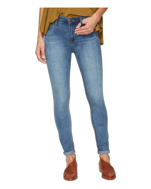 Free People - Blue Gummy Denim High-rise Roller Crop Jeans - Lyst