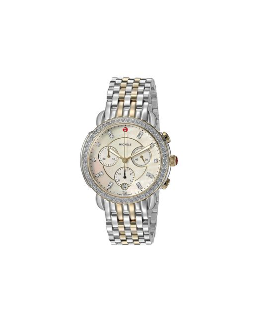 Michele - Metallic Sidney Diamond Bezel Two-tone Stainless Steel Watch (two-tone Silver/gold) Watches - Lyst