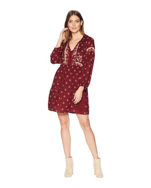 e163cac5599 Lyst - Lucky Brand Border Print Dress (red Multi) Women s Dress in ...