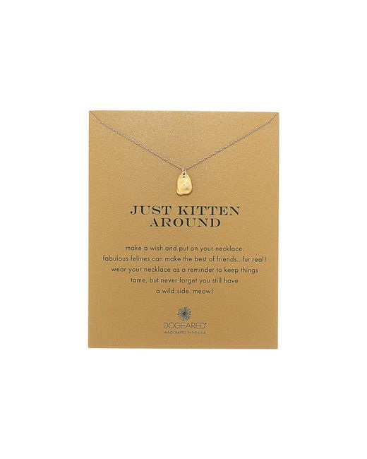 Dogeared | Metallic Just Kitten Around Reminder Necklace | Lyst