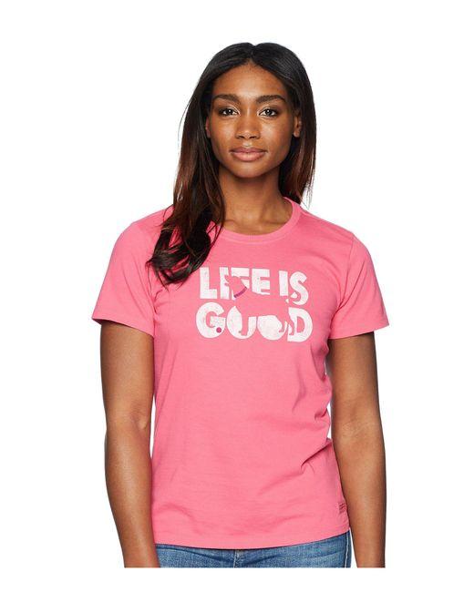 Life Is Good. - Knockout Dog Crusher Tee (fiesta Pink) Women's T Shirt - Lyst