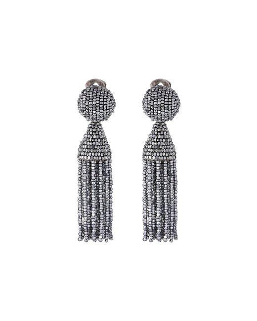 Oscar de la Renta - Metallic Classic Short Tassel Earring (silver) Earring - Lyst