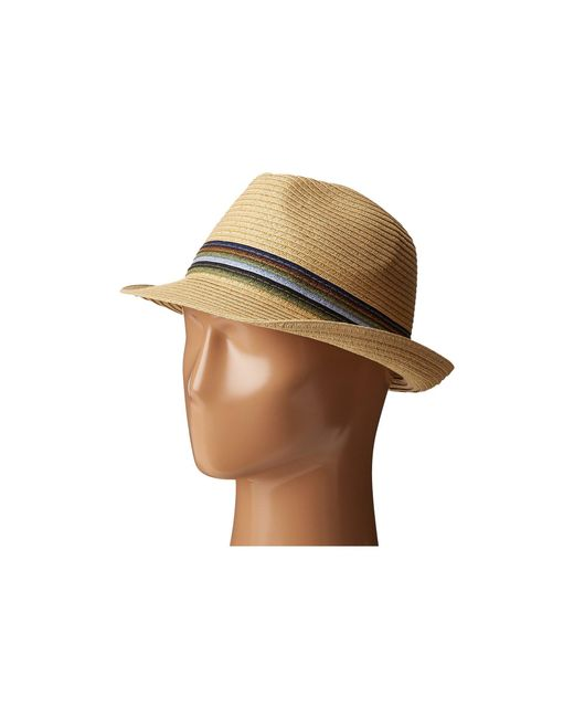 San Diego Hat Company - Ubf1019 Paper Braid Fedora Hat With Multicolor Inset Around Crown (natural) Fedora Hats for Men - Lyst
