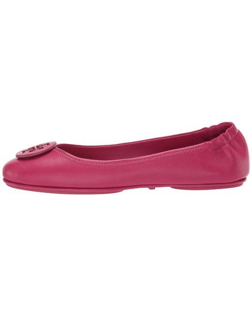 1b603a8c646e ... Tory Burch - Minnie Travel Ballet With Logo (metallic Sea Shell Pink) Women s  Flat ...