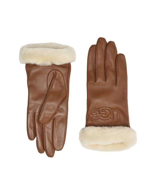Ugg Brown Classic Leather Logo Tech Gloves