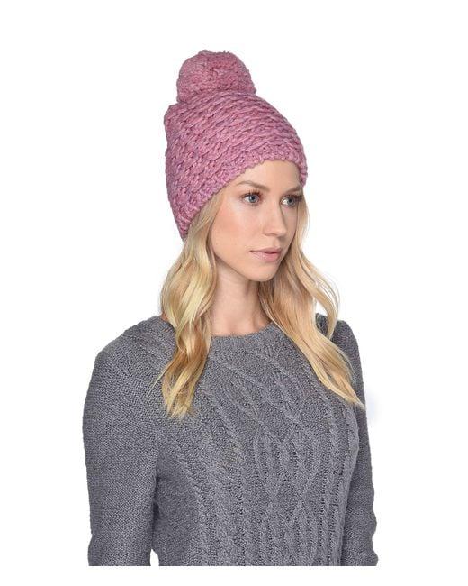 Ugg - Pink Yarn Pom Knit Hat (beige Multi) Caps - Lyst