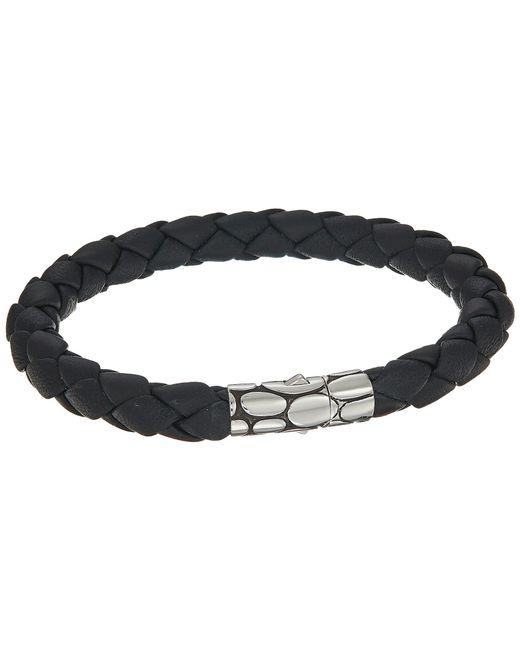 John Hardy - Kali 8mm Station Bracelet In Black Leather (silver/black) Bracelet for Men - Lyst