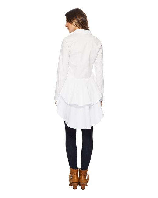 Scully - Bay Stretch White Cotton Pure Fun Hi-lo Blouse (white) Women's Clothing - Lyst