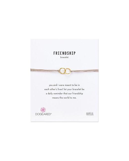 Dogeared - Metallic Friendship Double Linked Rings Silk Bracelet (black/gold Dipped) Bracelet - Lyst