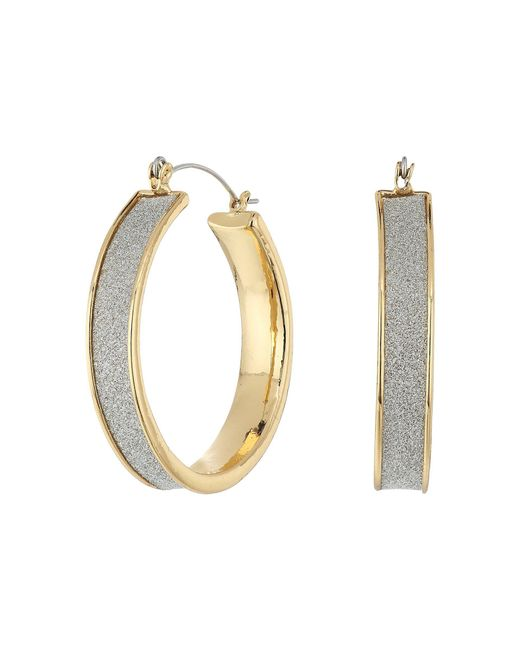 Steve Madden - Metallic Glitter Hoop Earrings - Lyst