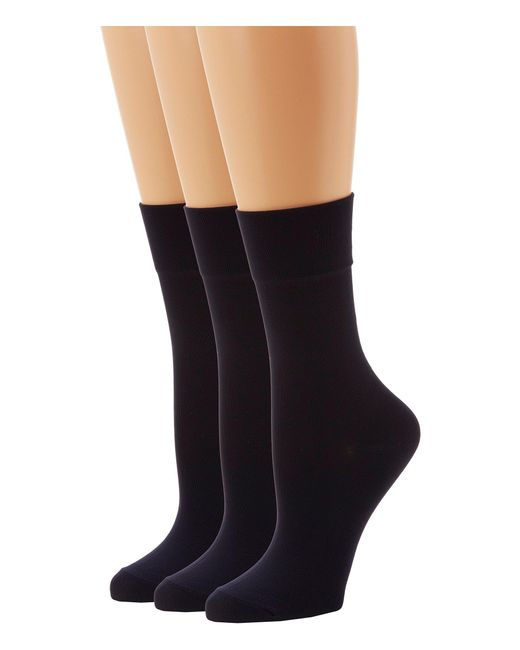 Hue - Black Ultrasmooth Sock 3 Pack (navy Solids) Women's Crew Cut Socks Shoes - Lyst
