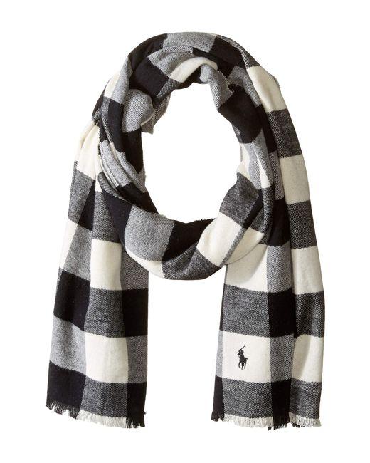 Polo Ralph Lauren - Lightweight Buffalo Check Scarf (black/cream) Scarves for Men - Lyst