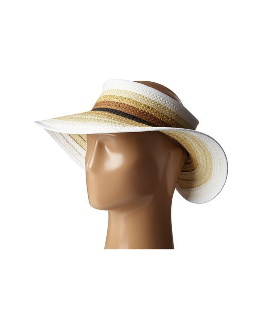 San Diego Hat Company - Natural Pbv007 Paper Braid Adjustable Roll Up Visor With Ribbon Edge - Lyst