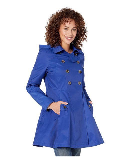 5dddf9e55fa ... Via Spiga - Double Breasted Hooded Fit And Flare W  Hood (positano  Blue) ...