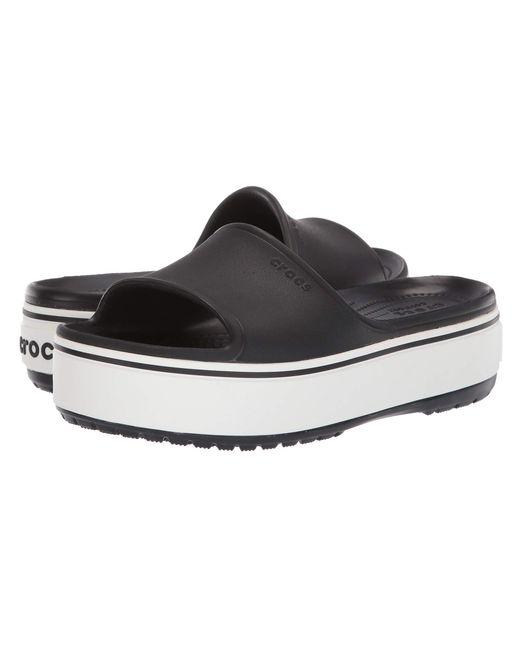 3761d39ba798 Lyst - Crocs™ Crocband Platform Slide (black white) Sandals in Black
