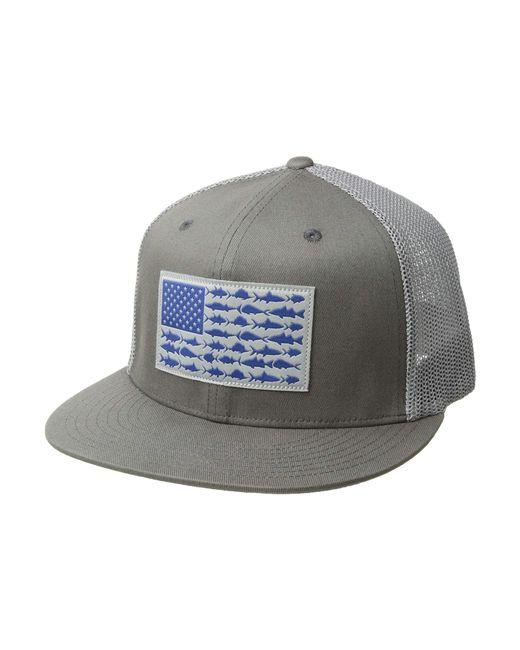 abcba2bf725 Columbia - Multicolor Pfg Mesh Flat Brim Ballcap (titanium fish Flag) Baseball  Caps ...