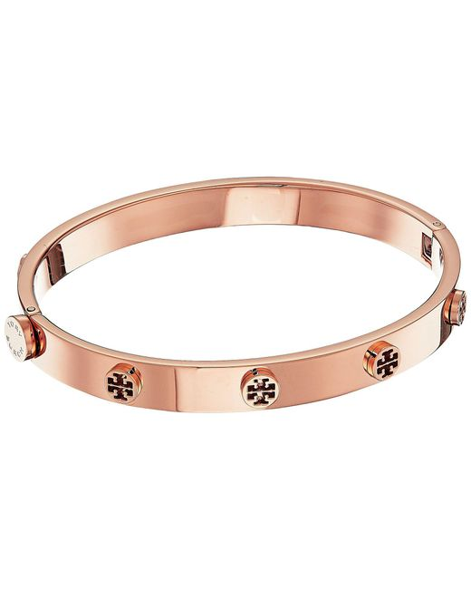 Tory Burch - Multicolor Logo Stud Hinge Bracelet (tory Silver) Bracelet - Lyst