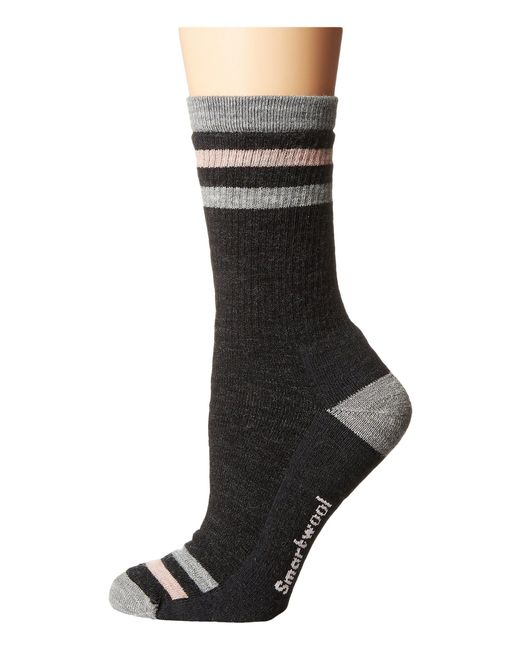 Smartwool - Gray Striped Hike Medium Crew (meadow Mauve) Women's Crew Cut Socks Shoes - Lyst