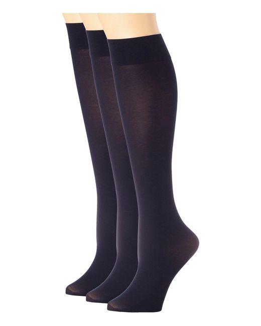 Hue - Blue Soft Opaque Knee High 3-pack (espresso) Women's Knee High Socks Shoes - Lyst