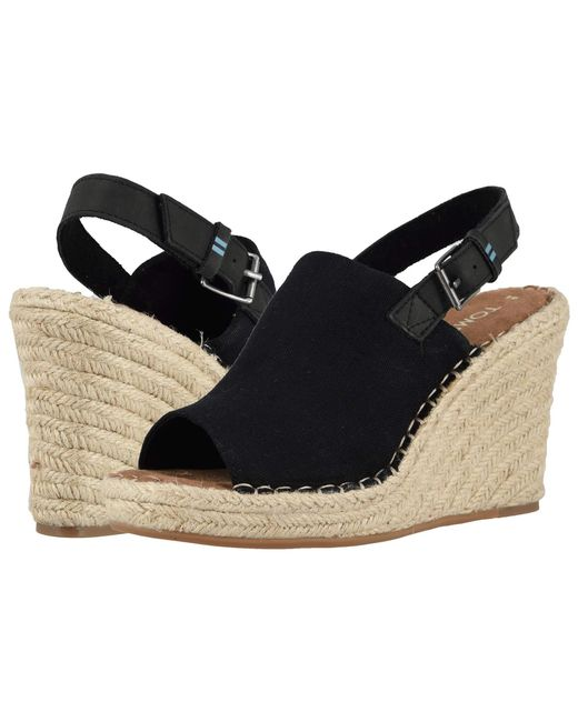 7567c59d5612b TOMS Women's Monica Slingback Espadrille Wedge Sandals in Black ...