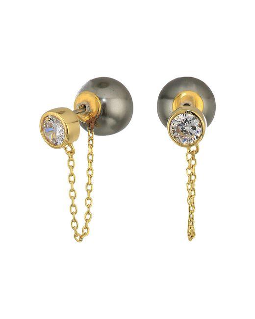 Cole Haan - Metallic Pearl/bezel Set Cubic Zirconia Front To Back Earrings (gold/clear Cubic Zirconia) Earring - Lyst