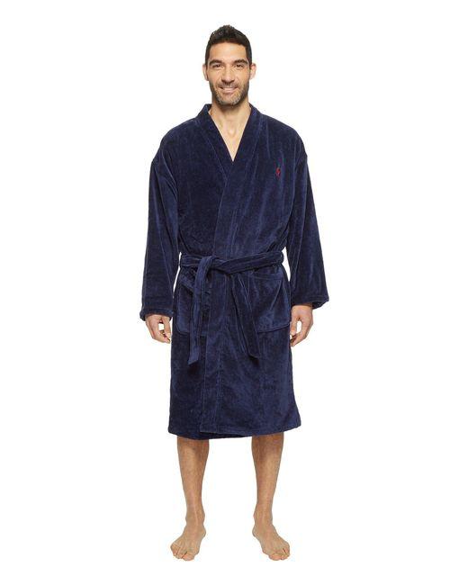 Polo Ralph Lauren - Blue Velour Kimono Robe (white) Men's Robe for Men - Lyst