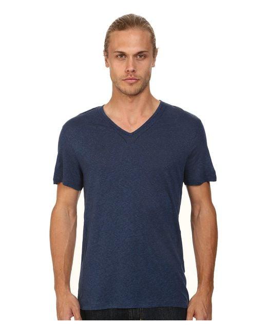 John Varvatos - Blue Short Sleeve Knit V-neck With Pintuck Seam Details for Men - Lyst