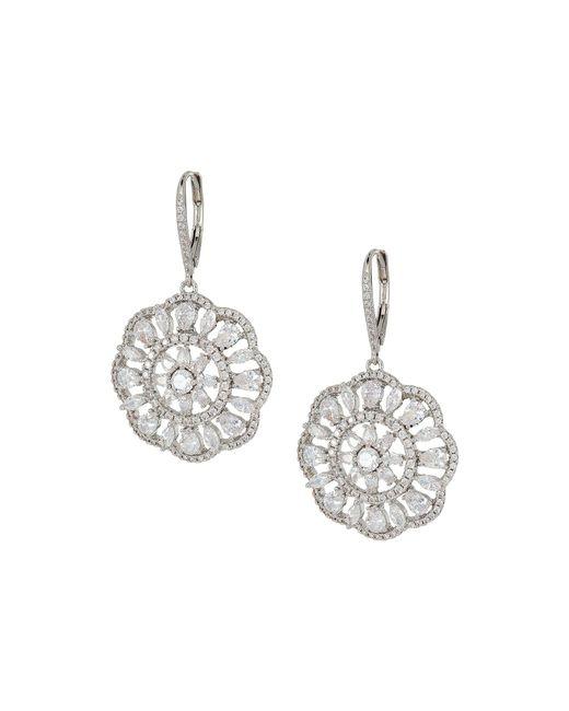 Nina - Multicolor Sunburst Lever Back Earrings (palladium/white Cz) Earring - Lyst