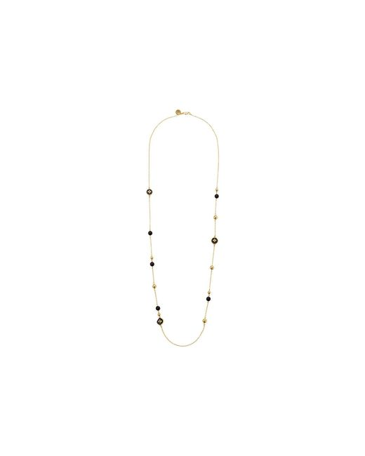 Tory Burch - Multicolor Raised Logo Rosary Necklace (black/tory Gold) Necklace - Lyst